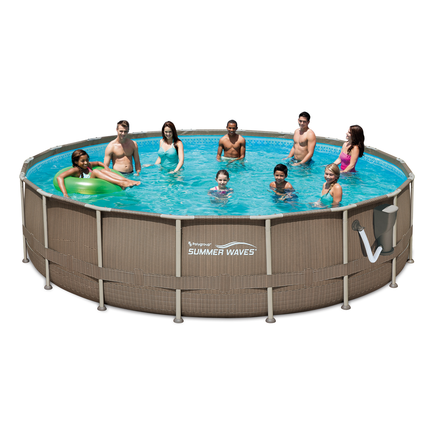 Summer Waves 18ft x 48in Above Ground Frame Pool Set with Filter Pump & Ladder
